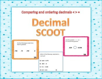 DECIMAL SCOOT !!!   Ordering Comparing Least to Greatest Decimals TASK CARDS
