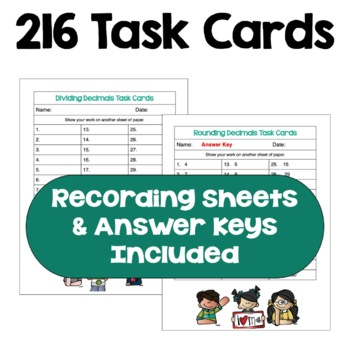 Decimal Task Card BUNDLE (Differentiated with 3 Levels)