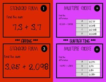 DECIMALS TASK CARDS BUNDLE: ADDING, SUBTRACTING, MULTIPLYING, AND DIVIDING