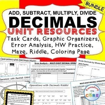 DECIMALS BUNDLE Task Cards, Error Analysis, Graphic Organizers, Practice, Notes
