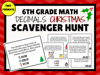 DECIMALS CHRISTMAS Scavenger Hunt (6th Grade Math)