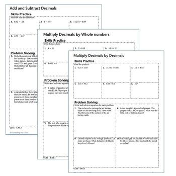 DECIMALS Homework Practice Worksheets - Skills Practice & Word Problems