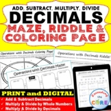 DECIMALS Maze, Riddle & Color by Number (Fun MATH Activities)