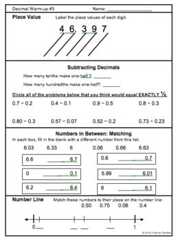 DECIMALS NUMBER SENSE Warm-up Activities (Set of 7 pages plus keys)