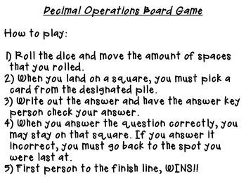 DECIMALS OPERATION BOARD GAME
