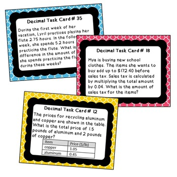 DECIMALS OPERATIONS Word Problems - Task Cards {40 Cards}