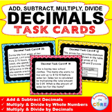 DECIMAL OPERATIONS Word Problems - Task Cards {40 Cards}