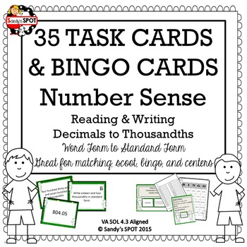 DECIMALS TO THOUSANDTHS MEGA PACK 35 TASK CARDS, BINGO, MA