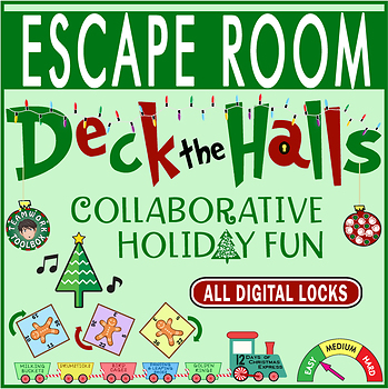 picture regarding Printable Escape Room Puzzles referred to as DECK THE HALLS Escape Place/Breakout ~ All Electronic Locks ~Xmas/Vacation Entertaining!