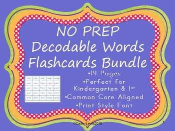 DECODABLE FLASHCARDS NO PREP BUNDLE CVC decoding practice