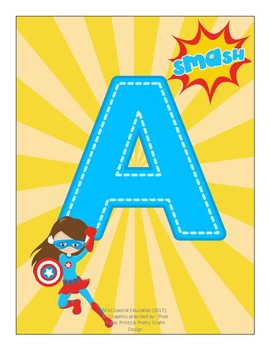 DECOR - Super Heroes - DOUBLE ABC's -  Wall decorations - Heroines - FULL COLOR
