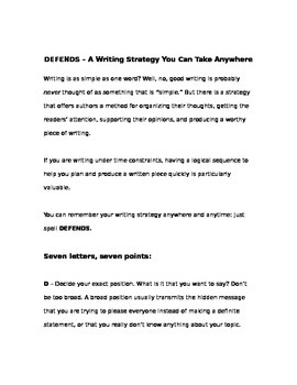 DEFENDS - A Writing Strategy You Can Take Anywhere