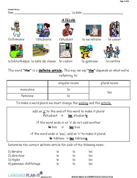 DEFINITE ARTICLE PRACTICE (FRENCH)