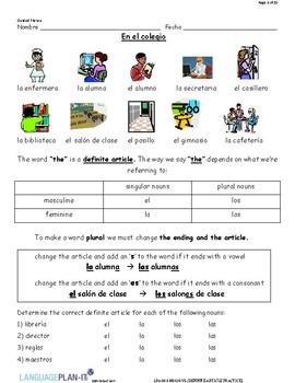 DEFINITE ARTICLE PRACTICE (SPANISH)