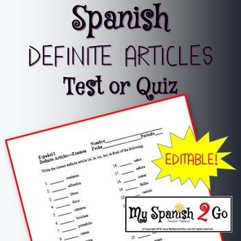 DEFINITE ARTICLES: in Spanish.  Test or worksheet.