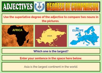 DEGREES OF COMPARISON: WORKSHEETS WITH ANSWERS