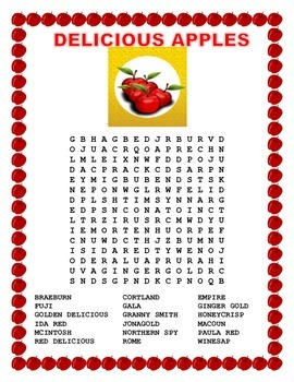 Johnny Appleseed Day-DELICIOUS APPLES- Morning Work- Word Search