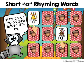 DEMO~Short Vowel CVC Rhyming Words Memory Match ~ Interactive PowerPoint Game