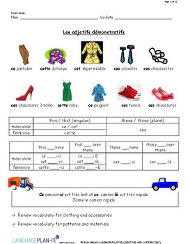 DEMONSTRATIVE ADJECTIVES AND CLOTHING TEST (FRENCH)