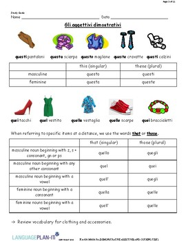 DEMONSTRATIVE ADJECTIVES AND CLOTHING TEST (ITALIAN)