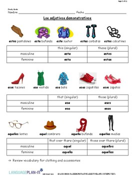 DEMONSTRATIVE ADJECTIVES AND CLOTHING TEST (SPANISH)