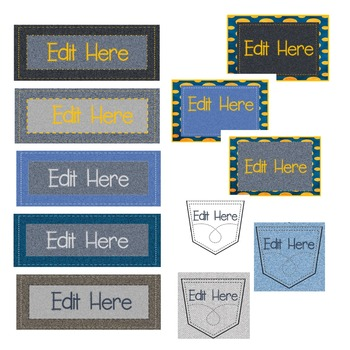 DENIM AND STITCHES {EDITABLE} NAMEPLATES AND LABELS