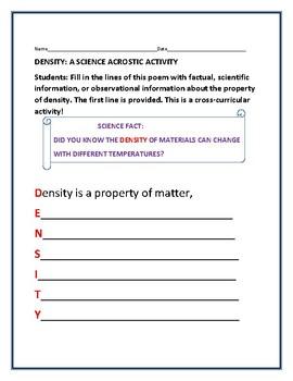 DENSITY ACROSTIC: A CROSS-CURRICULAR ACTIVITY
