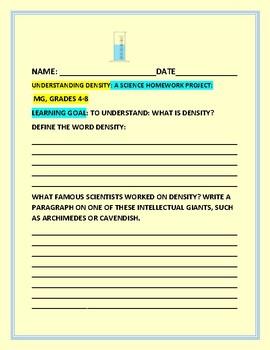 DENSITY HOMEWORK PROJECT: MG, GRADES 4-8