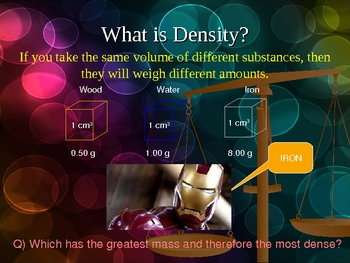 DENSITY OF SOLID, LIQUID, AND GAS