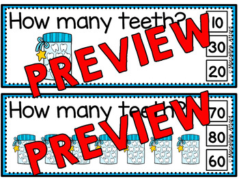 DENTAL HEALTH MATH (TEETH SKIP COUNTING CLIP CARDS) COUNTING BY TENS CENTER