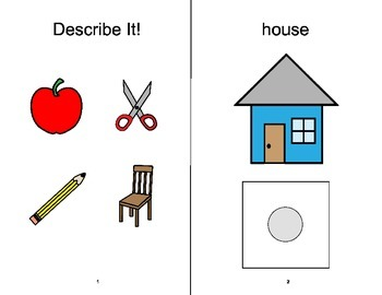 DESCRIBE IT adapted book, SPEECH THERAPY, Autism, Vocabulary, EET