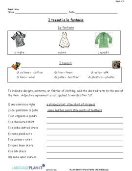 DESCRIBING PATTERNS AND MATERIALS (ITALIAN)