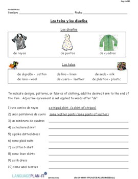 DESCRIBING PATTERNS AND MATERIALS (SPANISH)