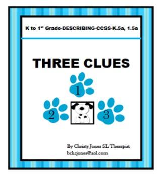 DESCRIBING ACTIVITY-K-1st Grade - THREE CLUES