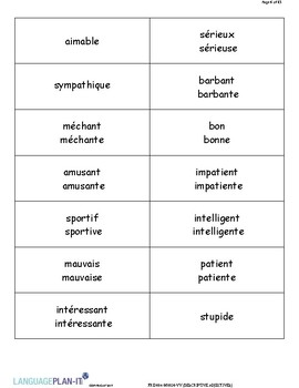 DESCRIPTIVE ADJECTIVES (FRENCH)