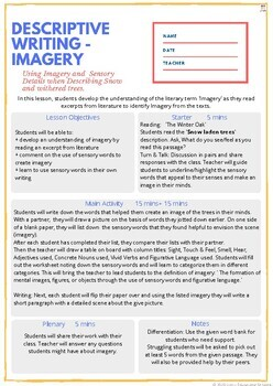 DESCRIPTIVE WRITING USING IMAGERY LESSON PLAN + READING AND WRITING ACTIVITIES
