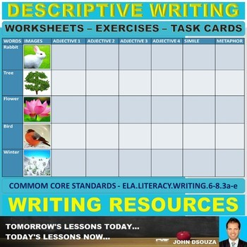 Descriptive Writing Worksheets And Task Cards By John Dsouza Tpt