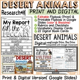 ANIMAL REPORT: DESERT ANIMALS: INFORMATIVE WRITING: RESEARCH TEMPLATES