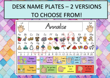 DESK NAME TAGS/ NAME PLATE QLD font LETTERS, NUMBERS to 20, optional hand signal