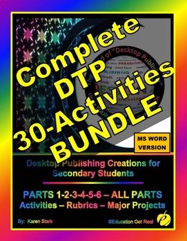 "DESKTOP PUBLISHING COMPLETE BUNDLE - PARTS 1-6 ""Activities-Rubrics-EVERYTHING!"
