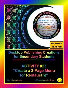 """DESKTOP PUBLISHING (Comp.Apps/ Wd.Proc.) """"#23 Create a Resturant Menu"""""""