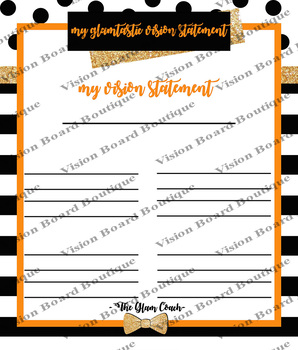 DESTINY orange vision sheet printable spiritual growth motivation spiritual goal