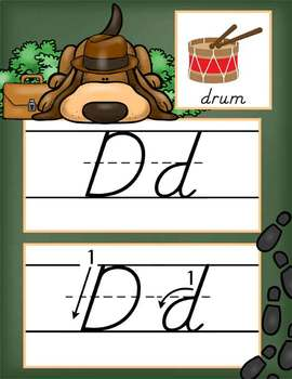 DETECTIVE - Alphabet Cards, Handwriting, D'Nealian, ABC cards with pictures