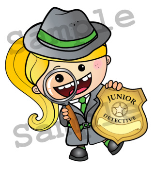 DETECTIVE Mini Name Badges Clipart. B/W & Color Bundle. {Lilly Silly Billy}