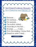 DETECTIVE Text Based Evidence Common Core Prove Answers poster printable
