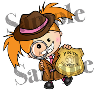 DETECTIVES (Brown coats). Mini Name Badges Clipart. B/W & Color Bundle.