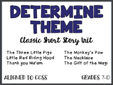 DETERMINE THEME using Classic Short Stories, CCSS aligned UNIT (110 pages)