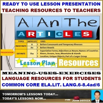 DETERMINERS (ARTICLES-A/AN/THE): LESSON PRESENTATION