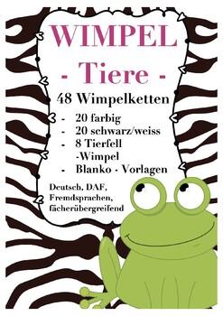 DEUTSCH / DAF: Tiere - Wimpel, animals pennants German, Kindergarten,Grundschule