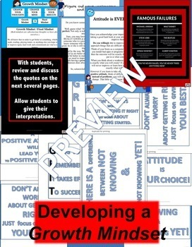 DEVELOPING A GROWTH MINDSET POWERPOINT AND PDF BULLETIN BOARDS